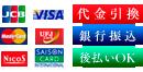 各種クレジットカードOK!代金引換、銀行振込、後払いOK