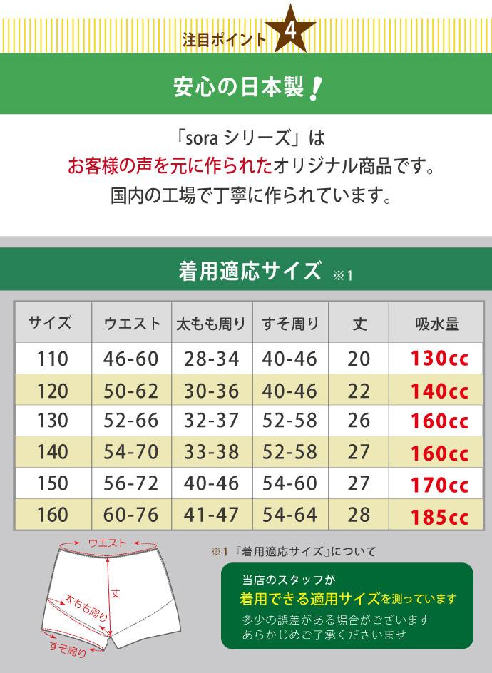 【sora(ソラ)スピードA】おねしょパンツ【110cm】