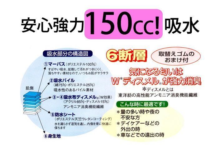 【32029】重失禁ショーツ【パッド部150cc】【S/M/L/LL/3L】綿100%/日本製/尿漏れショーツ失禁女性用