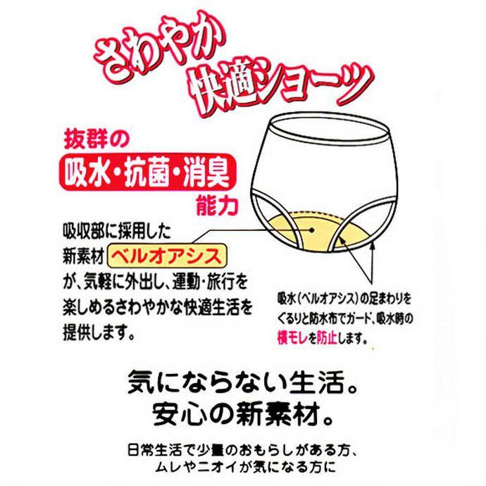 【Nojima】【赤の魔法(裏赤)】さわやか快適ショーツ【パッド部35cc】【M/L】綿100%/日本製/尿漏れショーツ失禁女性用