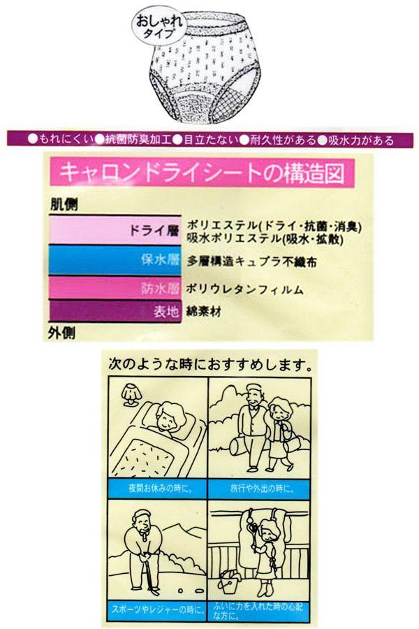 【キャロン】元気いきいき吸水パンツ【おしゃれタイプ天レース】【パッド部30cc】【LL】