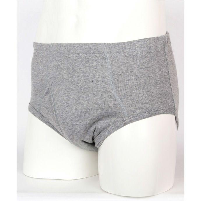 【ニシキ】【B485】安心パンツ【前開き・腰ゴムブリーフ】【50cc】【S/M/L/LL】グレーのみ/綿100%/日本製/尿漏れパンツ失禁男性用