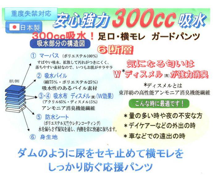 【3枚セット】【32030】婦人重度失禁パンツ【パッド部300cc】【S/M/L/LL/3L】綿100%/日本製/ピンクのみ/尿漏れショーツ失禁女性用