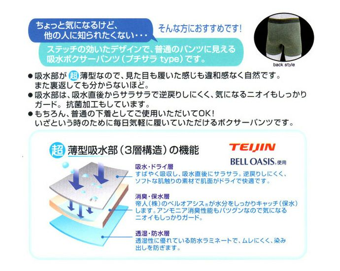 【テイジン】【TS5006/3色組】スマートボクサーパンツ【前開きタイプ】【20cc】【M/L/LL/3L】