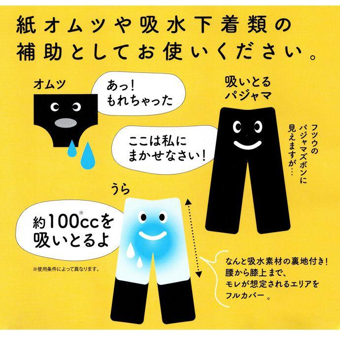吸水機能付き【すいとる下だけパジャマ】【パッド部100cc】【M/L/LL】綿100%/尿漏れパジャマ男女兼用